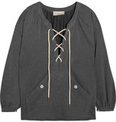 The Great The Rope Lace-up Stretch Cotton-blend Jersey Sweatshirt - Dark gray