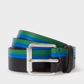 Paul Smith Men's Blue And Green Stripe Leather Belt