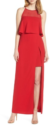 Harlyn Popover Ruffle Sleeveless Front Slit Gown