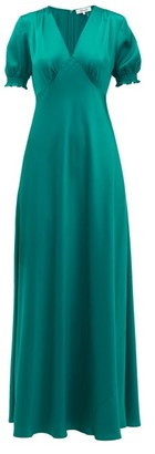 Diane von Furstenberg Avianna V-neckline Satin Maxi Dress - Womens - Green