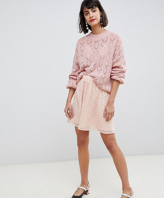 Pieces embellished mini skater skirt in pink