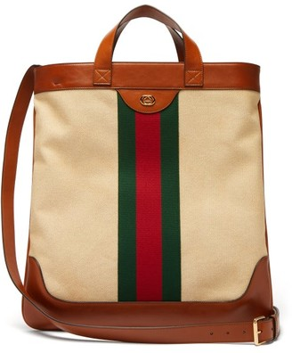 Gucci Web-stripe Canvas And Leather Tote Bag - Cream Multi