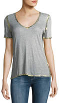 Zadig & Voltaire Tino Golden Foil V-Neck Short-Sleeve Tee