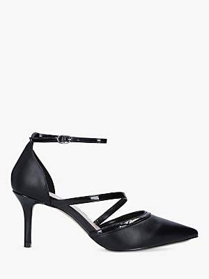 Carvela Kym Pointed Toe Cross Strap Heel Court Shoes, Black