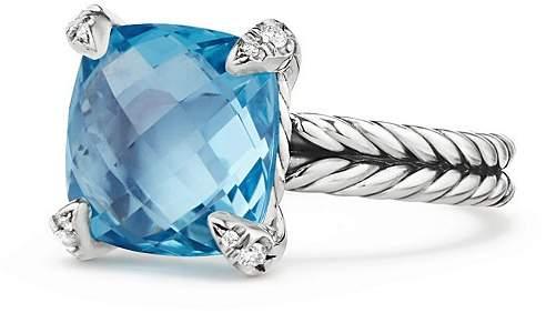 David Yurman Ch'telaine® Ring with Blue Topaz and Diamonds