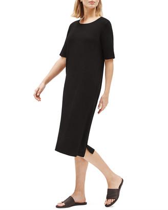 Eileen Fisher Plus Size Lyocell Jersey Short-Sleeve Dress w/ Side Slits