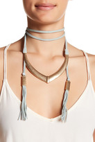 Natasha Accessories Suede Wrap Metal Pendant Choker