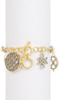 Freida Rothman 14K Gold Plated Sterling Silver CZ Mother of Peral Contremporary Deco Caged Charm Bracelet