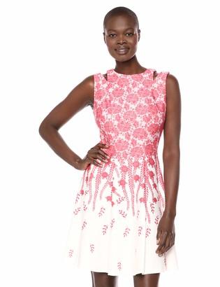 Gabby Skye Women's Sleeveless Round Neck Scuba Fit & Flare Dress W. Cut Out