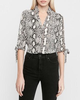 Express Snakeskin Print Tie Sleeve Button-Up Shirt
