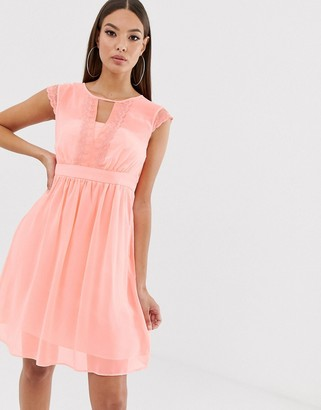 Naf Naf romantic pastel soft mesh dress in empire still with lace-Pink