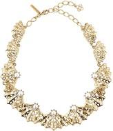 Oscar de la Renta Swarovski Crystal & Pearl Filigree Fan Necklace