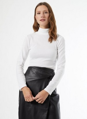 Dorothy Perkins Womens White Organic Roll Neck Top, White