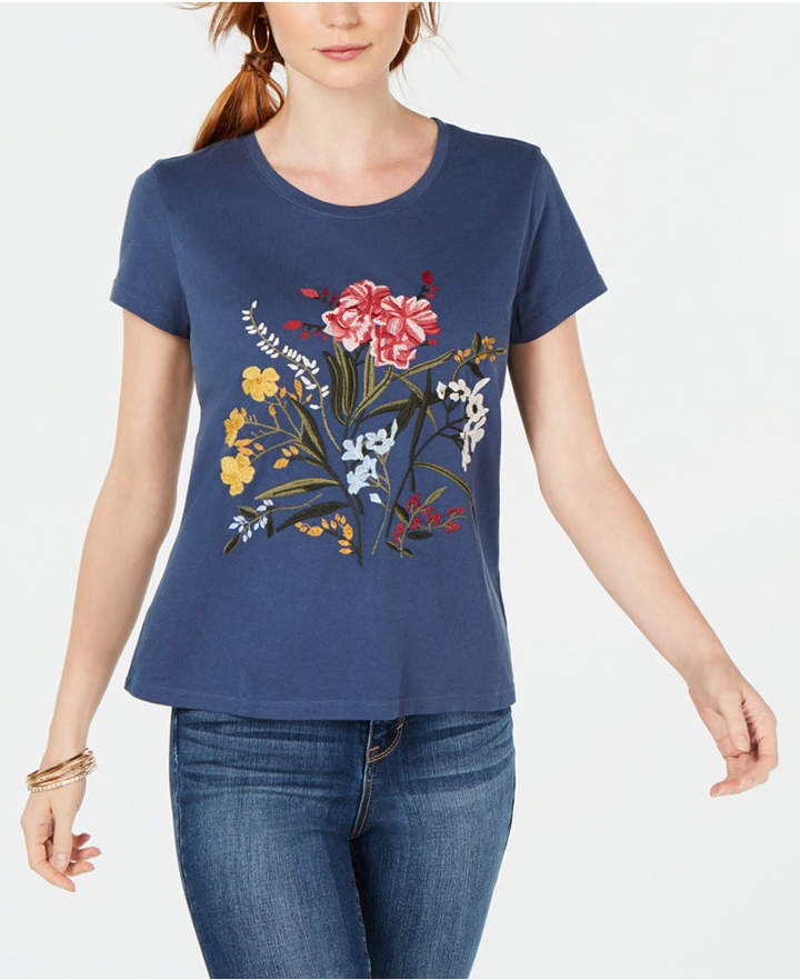 Style&Co. Style & Co Cotton Floral-Embroidered T-Shirt