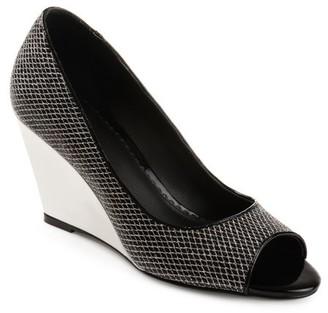 Brinley Co. Women's Glitter Open-toe Metallic Wedges