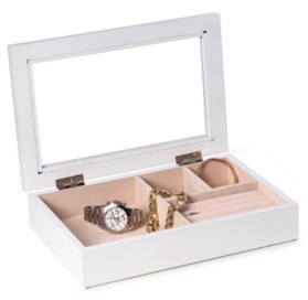 Bey-Berk Jewelry Box with Glass Viewing Top