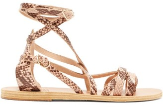 Ancient Greek Sandals Satira Wraparound Python-effect Leather Sandals - Pink Multi