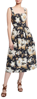 Oscar de la Renta Belted Floral-Print Poplin Day Dress