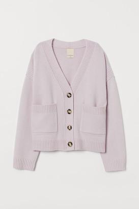 H&M Boxy Wool Cardigan - Purple