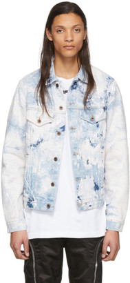 Off-White White and Blue Denim Slim Arrows Jacket