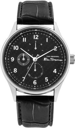 Ben Sherman Men's Textured Black Dial Leather Strap Watch