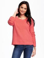 Old Navy Hi-Lo Honeycomb-Stitch Sweater for Women