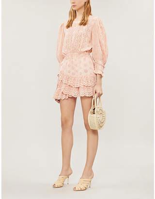 LoveShackFancy Lorelei Ruffled Broderie Anglaise Cotton Mini Dress