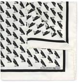 Alexander McQueen Raven-print Silk-twill Pocket Square - White