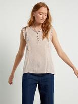 White Stuff Frilly sleeveless jersey shirt
