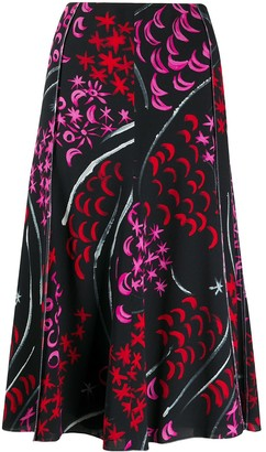 Marni Abstract Print Midi Skirt