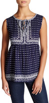 Max Studio Sleeveless Printed Voile Tunic Blouse