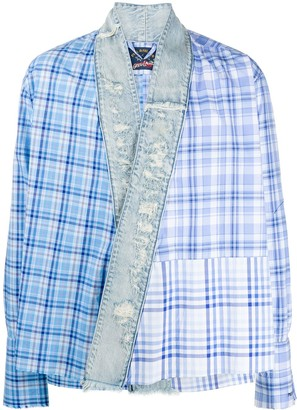 Paul & Shark Open-Front Patchwork Plaid Shirt