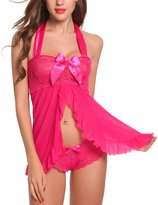 Adorneve Women Sexy Nightwear Chemise Babydoll Halter Strap Lace Lingerie Set