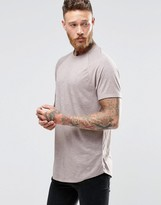 Asos Longline Muscle T-Shirt With Curved Hem In Textured Fabric
