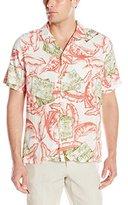 Caribbean Joe Men's Slim Fit Short Sleeve Button Up Fish Pattern Rayon Hawaiian Shirt