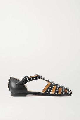 Christian Louboutin Loubiclou Studded Leather Sandals - Black