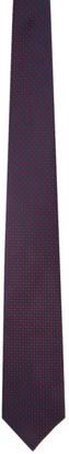 Brioni Navy and Burgundy Silk Polka Dot Tie