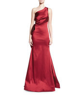 Sachin + Babi One-Shoulder Stretch Satin Gown, Garnet