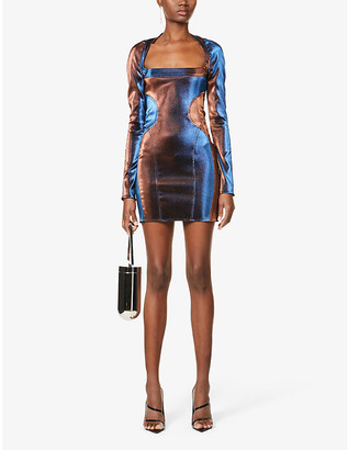 Thierry Mugler Square-neck woven mini dress