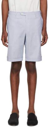 Brioni White and Blue Striped Seersucker Shorts