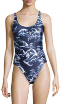 We Are Handsome Printed Scoop One Piece Swimsuit