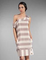 Mike & Chris Thurman Asymmetrical Striped Silk Dress
