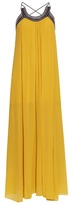Roberto Cavalli Pleated cross-back silk-georgette dress