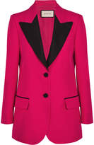 Gucci Faille-trimmed Wool And Silk-blend Crepe Blazer - Fuchsia
