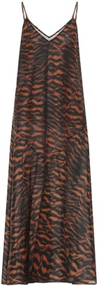 The Upside Tiger-print cotton and silk midi dress
