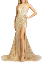 Mac Duggal 6-Week Shipping Lead Time Bead Embellished Cross-Back Thigh-Slit Trumpet Gown