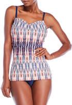 Jones New York Shirred Printed One-Piece Swimsuit