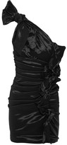 Isabel Marant Nyree One-shoulder Ruched Taffeta Mini Dress - Black