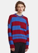 Raf Simons Disturbed Striped Sweater in Burgundy and Blue
