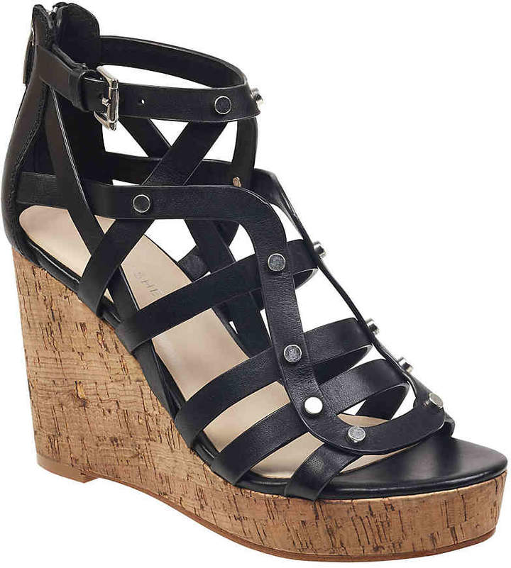 ab6cd3e474 Marc Fisher Black Wedge Women's Sandals - ShopStyle
